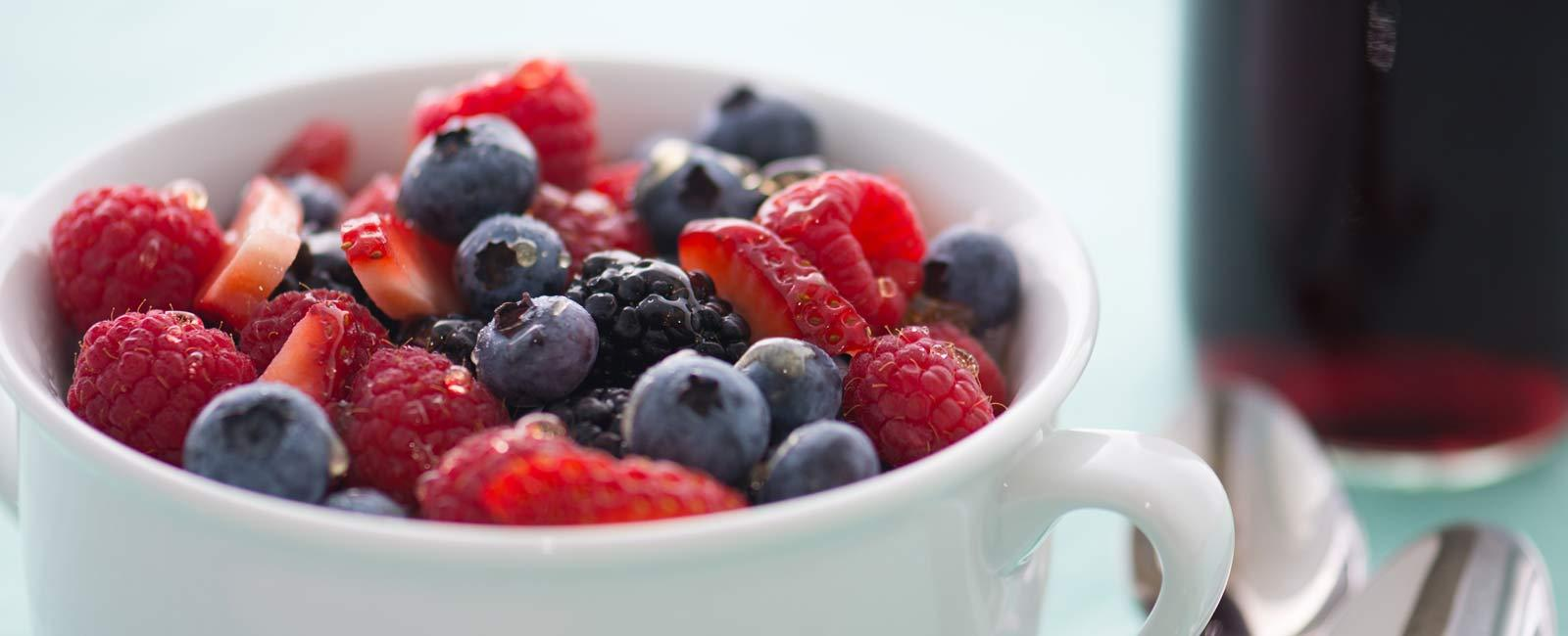 Berries with Grape and Honey Glaze