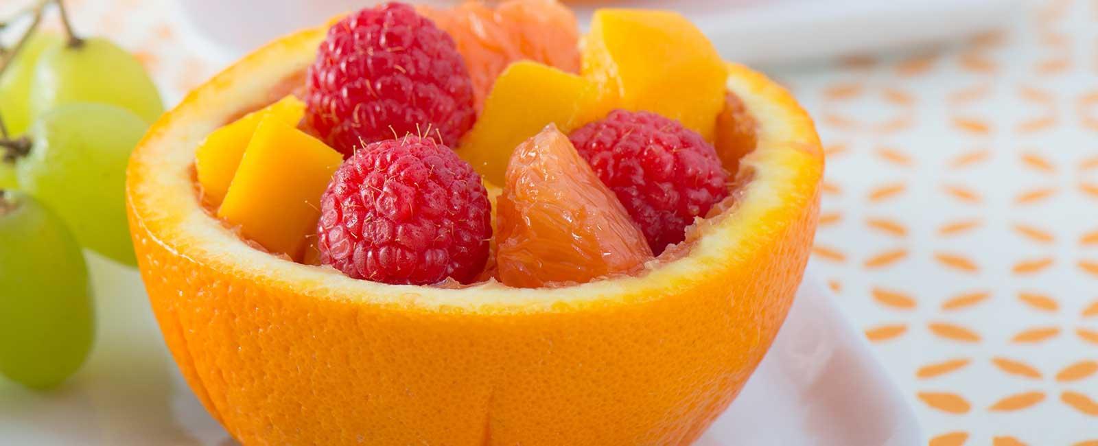 Fruit Salad in Orange Bowls