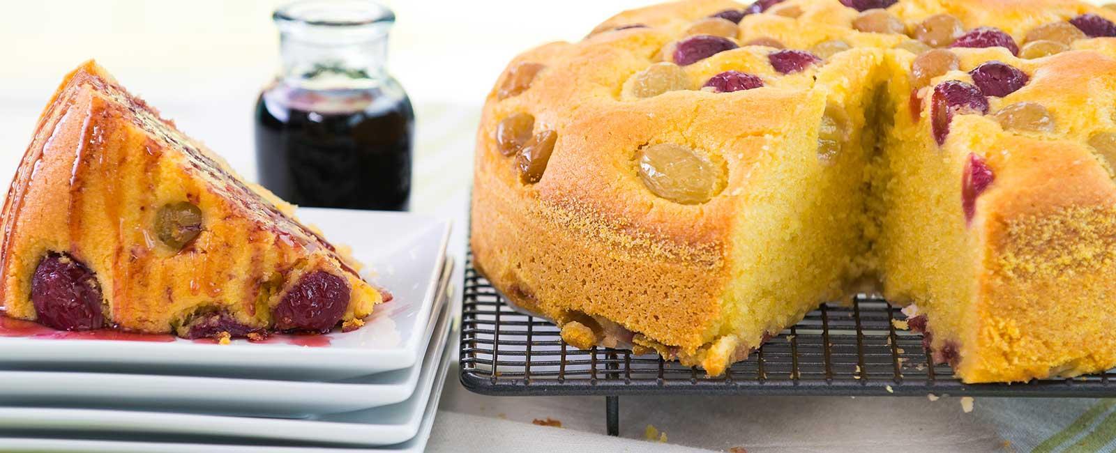 Golden Grape Cake with Grape Juice Reduction