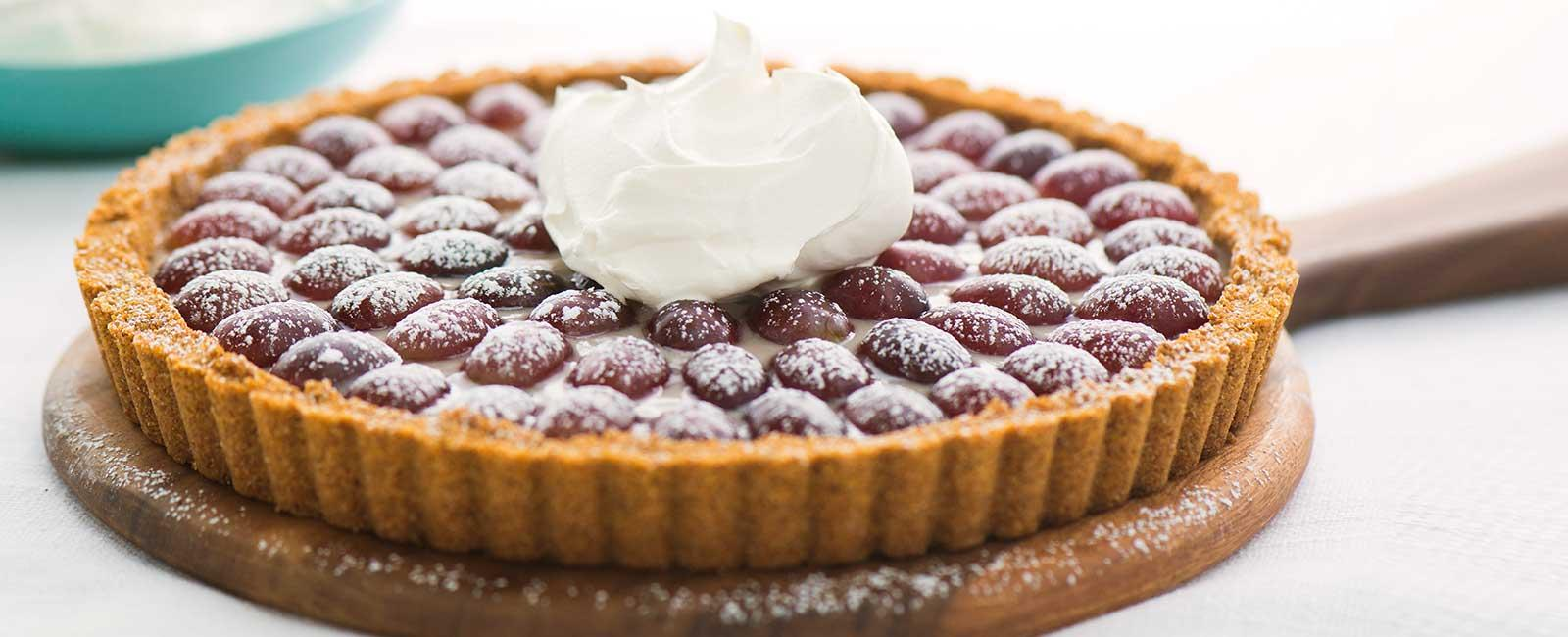 Grape Tart with Peanut Butter Whipped Cream