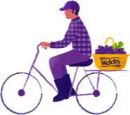 Purple illustration of a farmer riding a bike with a basket of grapes on the back