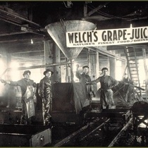 Four workers in a Welch's Grape Juice factory, circa 1890