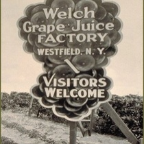 "Signage from 1854 stating, ""Welch Grape Juice Factory, Westfield, N.Y. -- Visitors Welcome"""