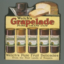 Vintage signage for Welch's Grapelade: Pure Grape Jam, with painted bread and jam jars