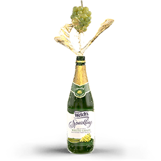 Bunch of white grapes swirling and splashing into Welch's Sparkling White Grape Juice.