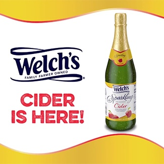 "Welch's Sparkling Cider Instagram post with text overlay ""CIDER IS HERE!"""
