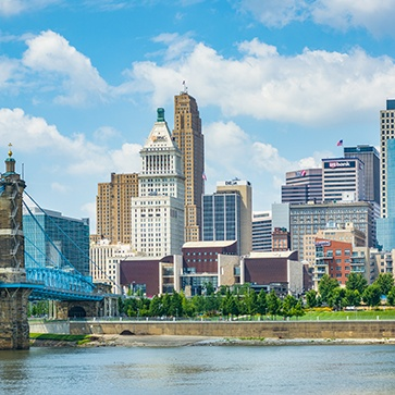 Downtown Cincinnati, OH skyline.