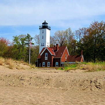 Lighthouse on the beach in North East, PA.
