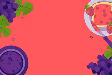 Illustration of grapes and strawberries with a Fruit text overlay