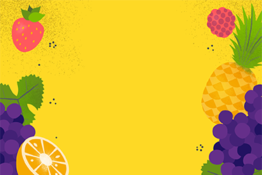 Illustration of strawberries, concord grapes, orange, pineapple and kiwi with a Fruit text overlay