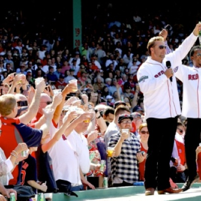 World record for the largest toast at Fenway Park, fans raise glasses of Welch's juice