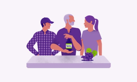 Illustration of 3 people smiling, holding Welch's grape juice