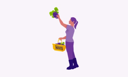 Purple illustration of a farmer picking grapes off the vine, holding a Welch's basket