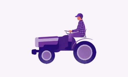 Purple illustration of a farmer riding a tractor