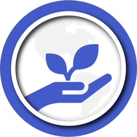 Blue illustration of hand holding a sprouting plant.