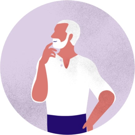 Purple illustration of a man with a beard pondering