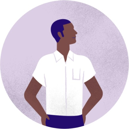 Purple illustration of a man standing, wearing a white shirt