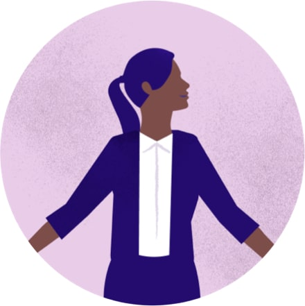 Purple illustration of a woman standing, wearing a blazer and white shirt