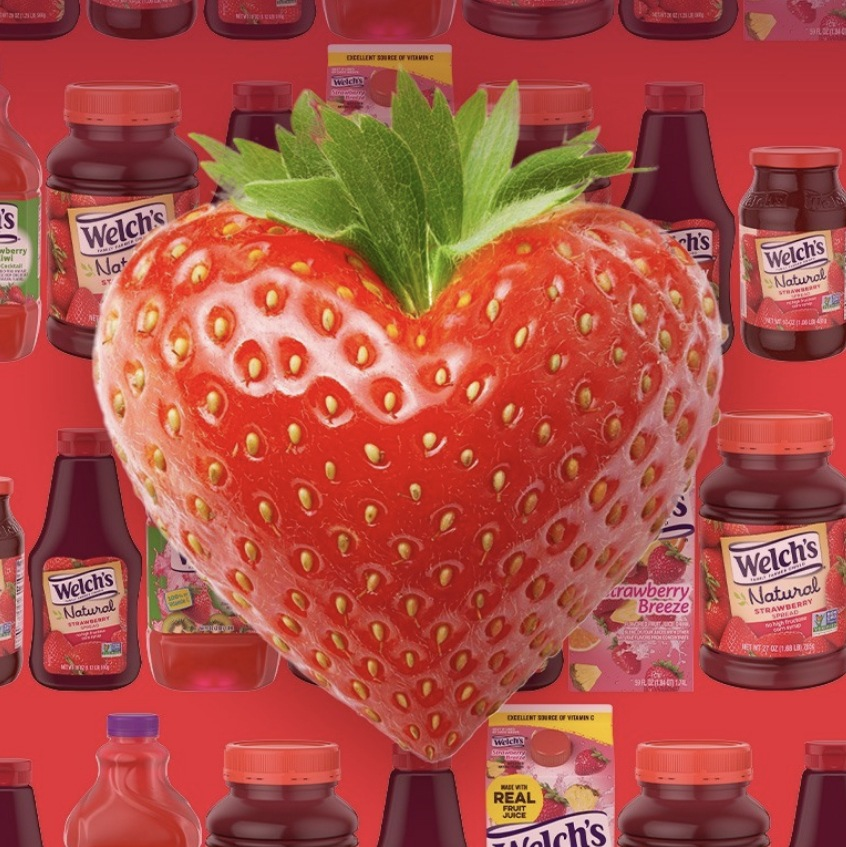 Strawberry shaped like a heart with a Welch's Strawberry Products background