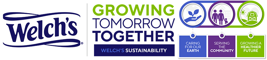 Welch's: Growing Tomorrow Together, Welch's Sustainability. Caring for our earth, serving the community, growing a healthier future.