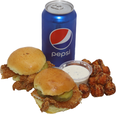 Cajun Catfish Slider Combo with Sweet Potato Tots and Pepsi