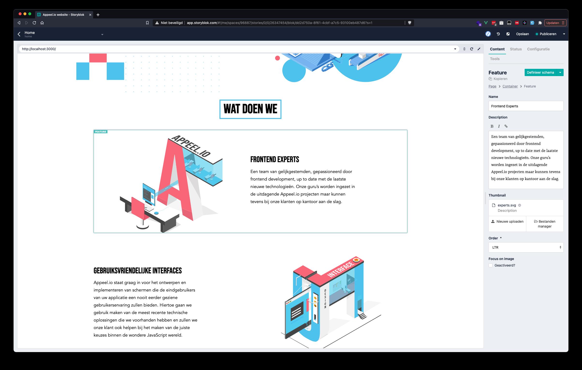 Storyblok UI homepage