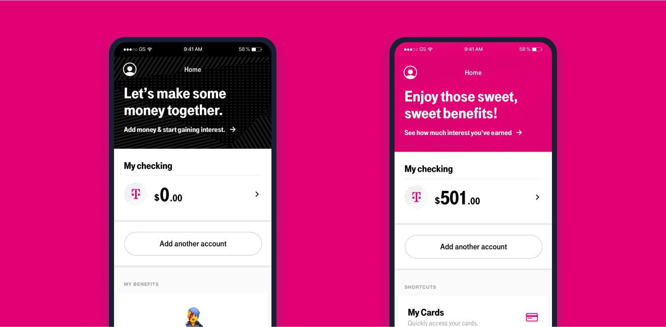 Screenshots of the T-Mobile Money app Home screens with example balances