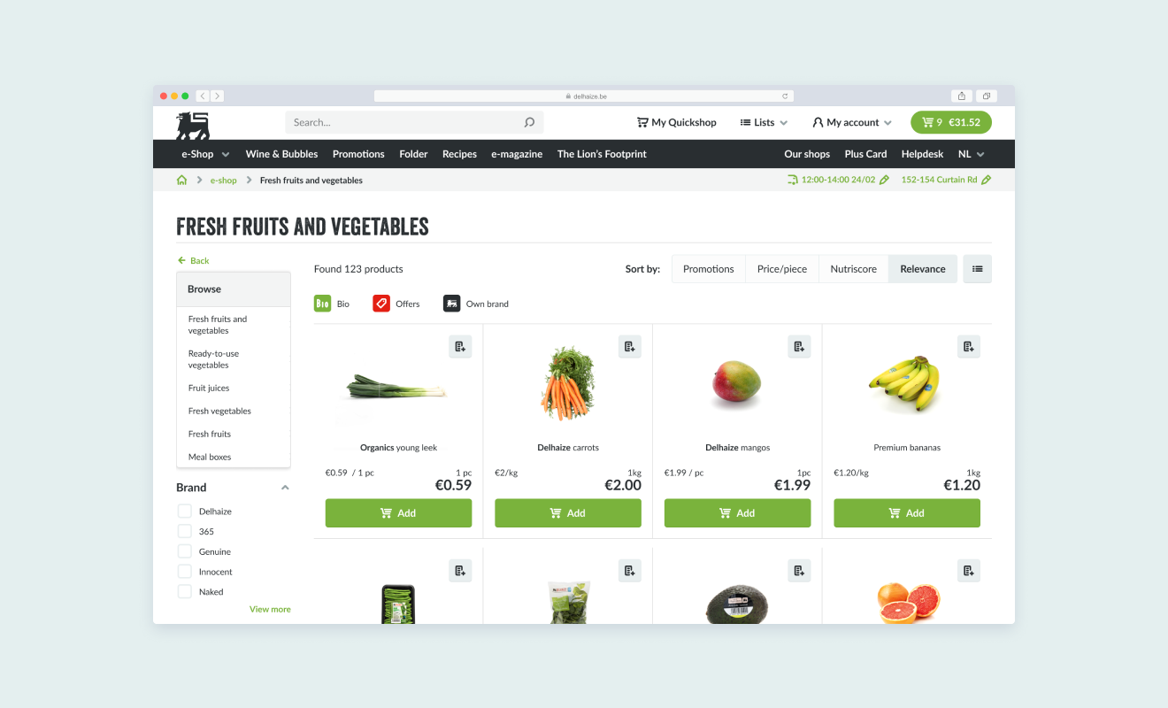 Desktop screenshot of a browser with the Ahold Delhaize ecommerce website - fruits and vegetables section