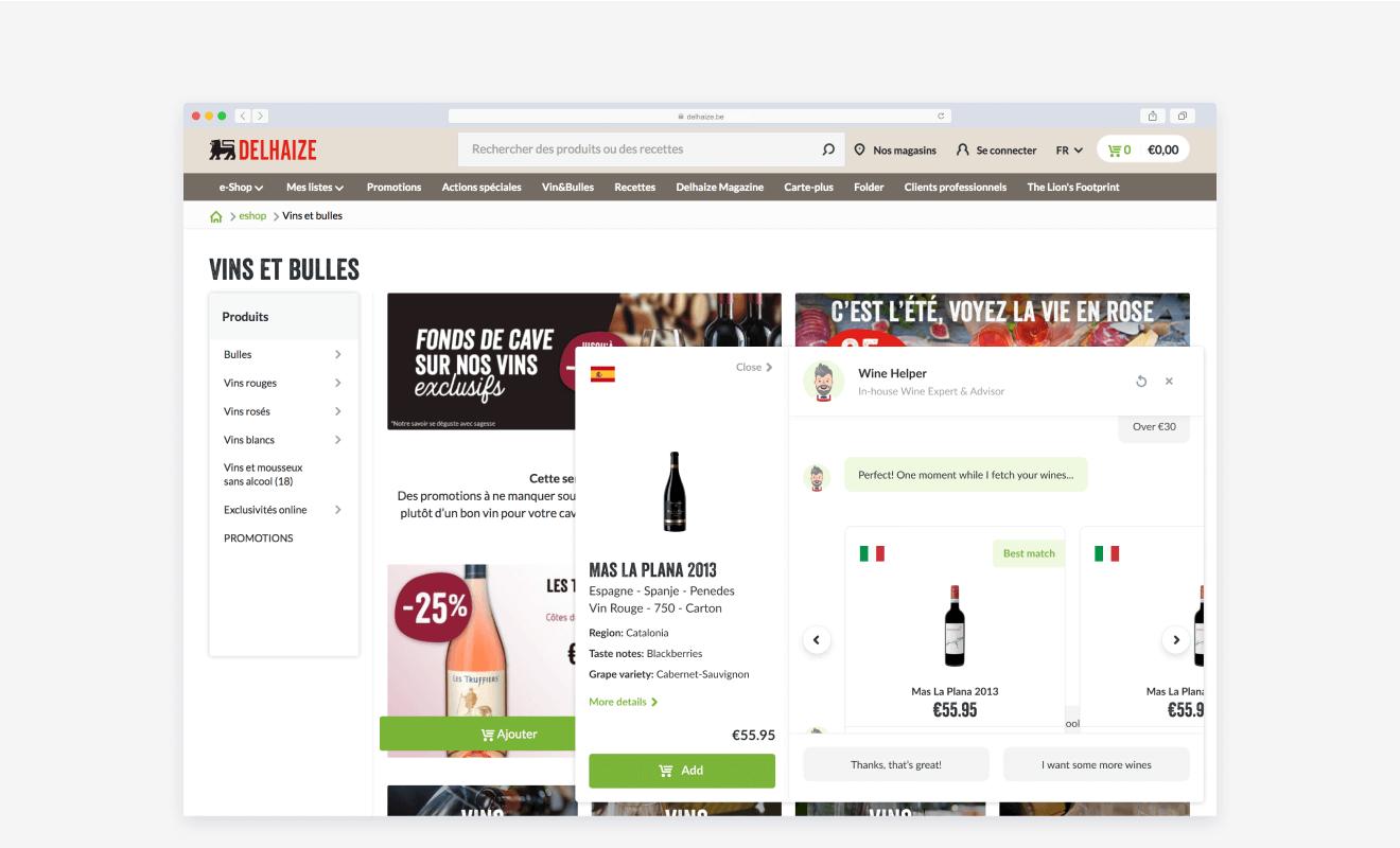 Desktop Delhaize.be screenshot chatbot