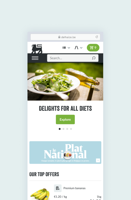 Mobile screenshot of a browser with the Ahold Delhaize ecommerce website