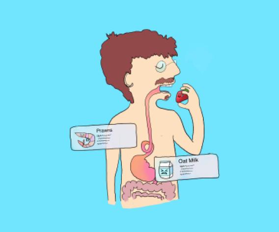 Illustration of a man eating something