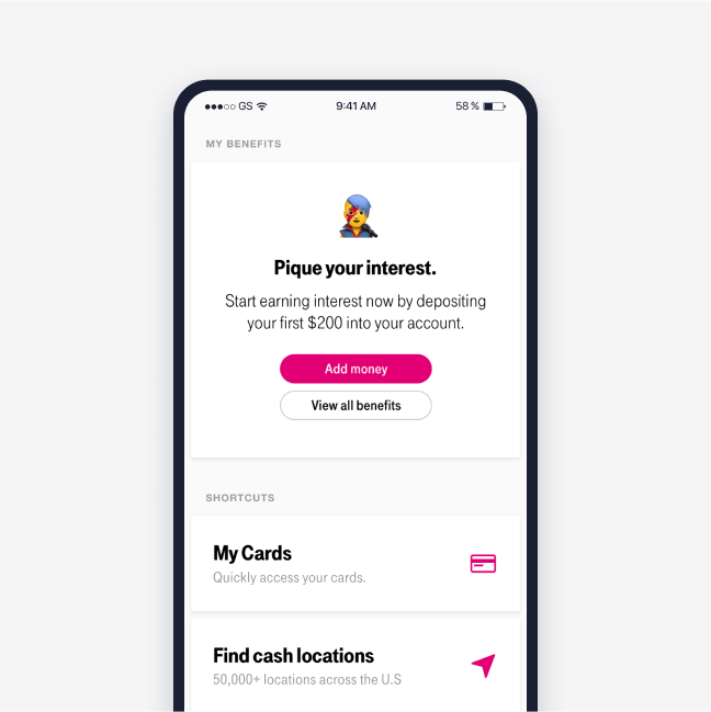 Screenshot of the benefits area in the T-Mobile Money app