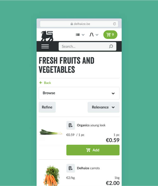 Mobile screenshot of a browser with the Ahold Delhaize ecommerce website - fruits and vegetables section