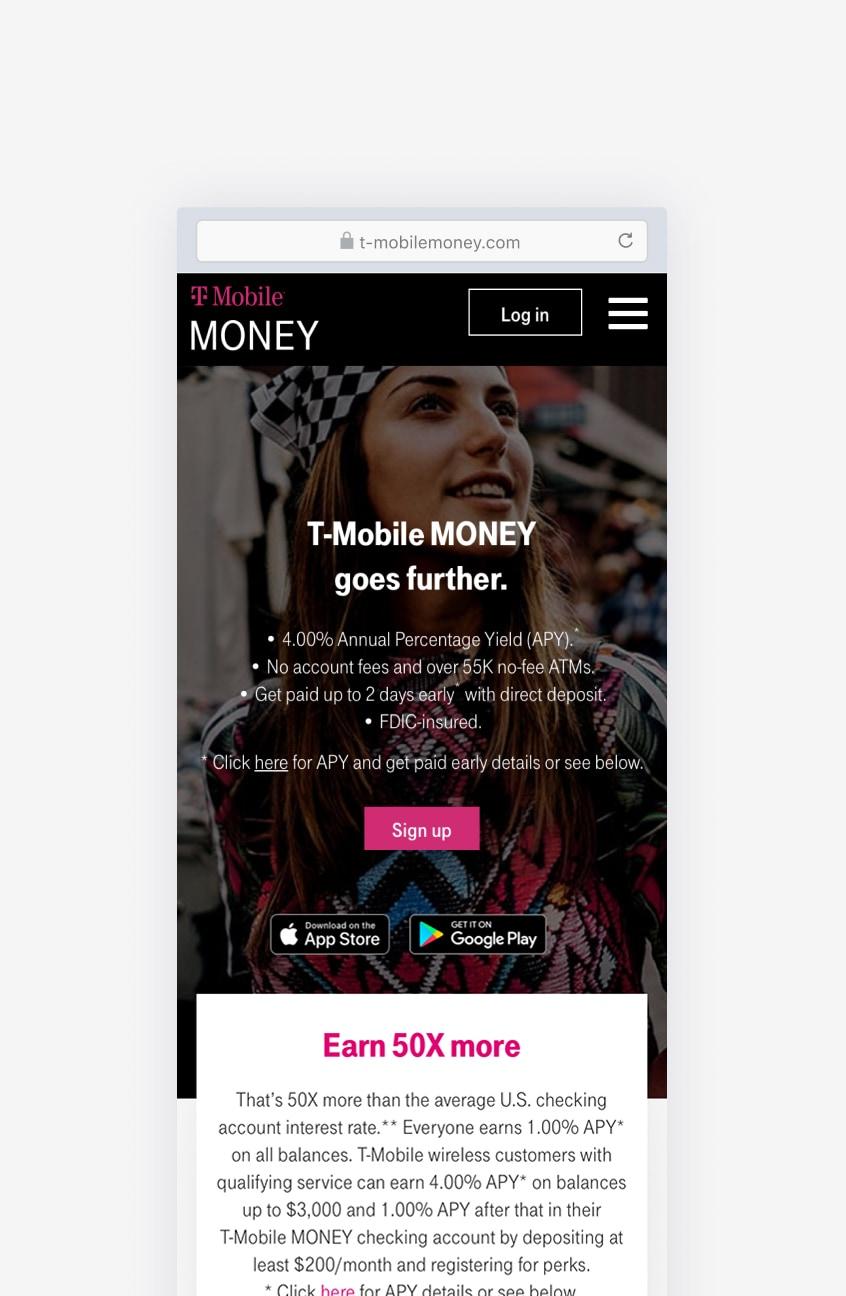 Screenshot of the T-Mobile Money mobile app