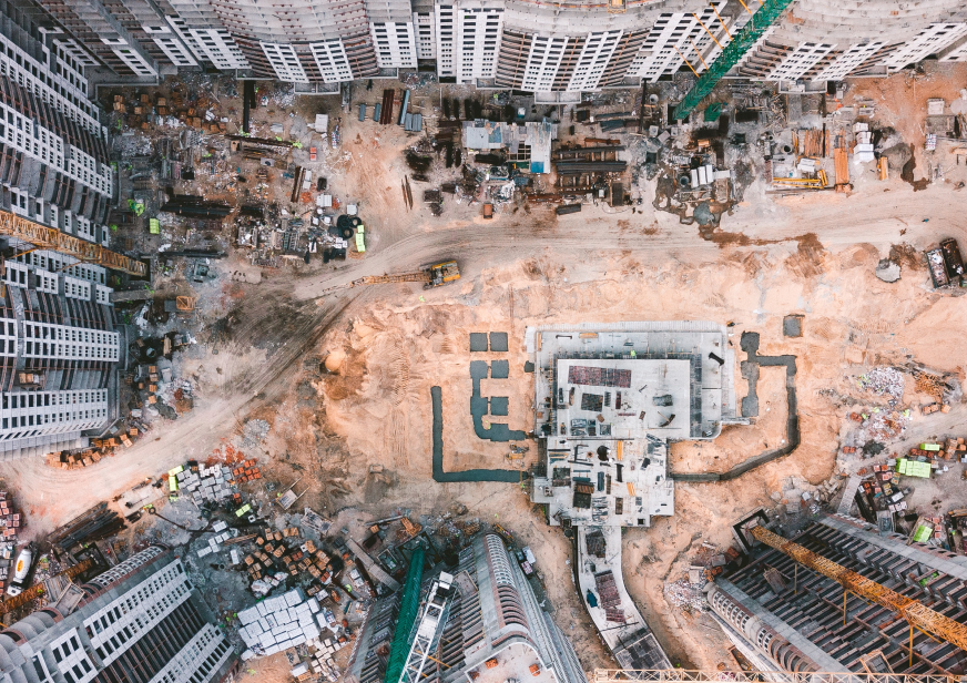 Bird's eye view of a construction site