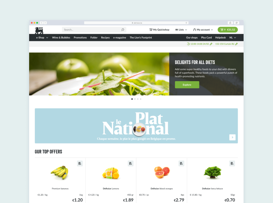 Desktop screenshot of a browser with the Ahold Delhaize ecommerce website