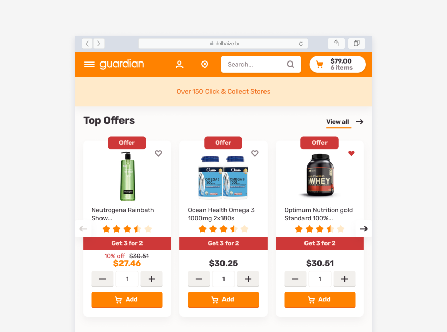 Desktop screenshot of a browser showing the Guardian ecommerce website - Top Offers section