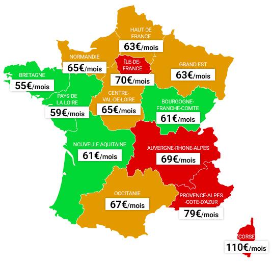 Prix assurance auto tiers par region