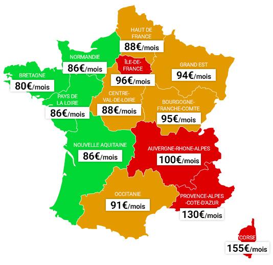 Prix assurance auto tous risques par region
