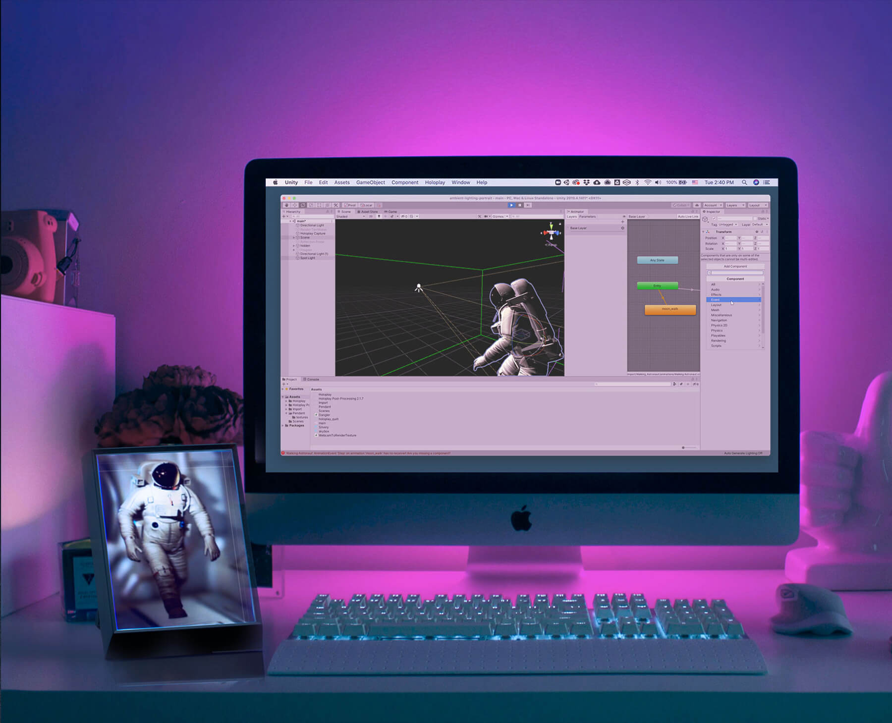Looking Glass Portrait holographic display on a desk workstation