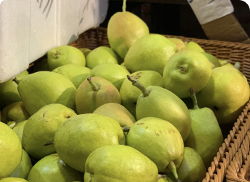Box of pears at the market