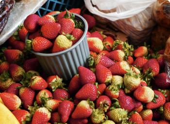 Gray ramekin full of strawberries overflowing