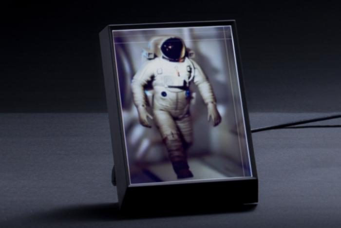 Astronaut walking displayed in Looking Glass Portrait