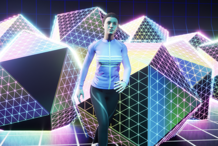 woman dancing with gradient shapes behind her