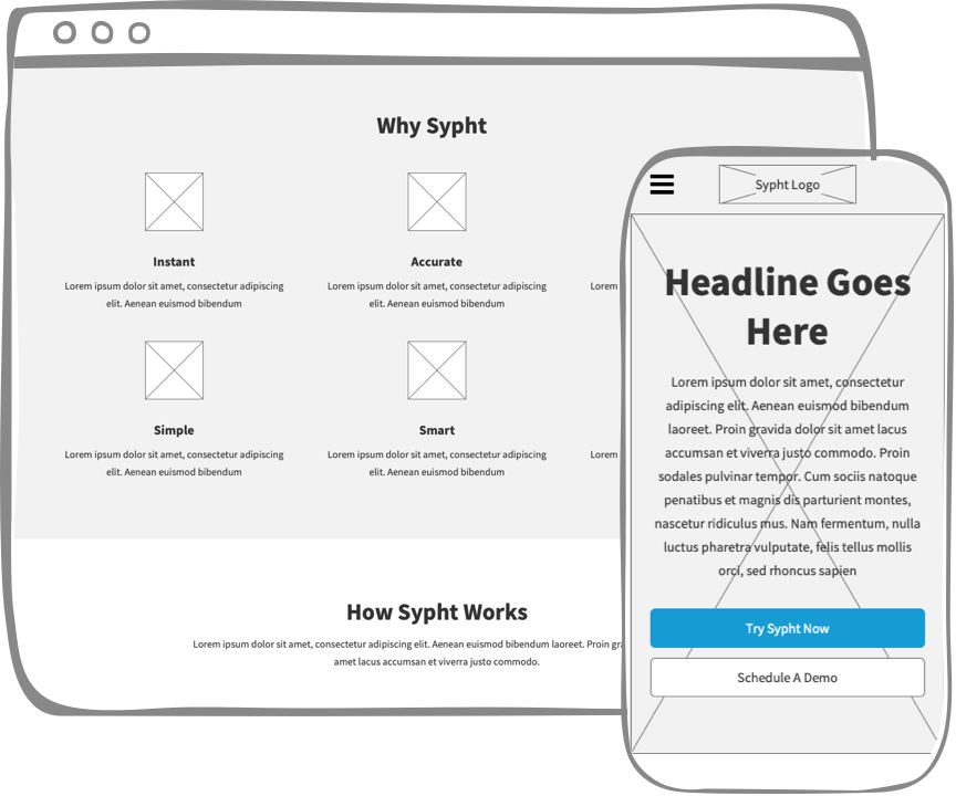 Sypht website wireframes