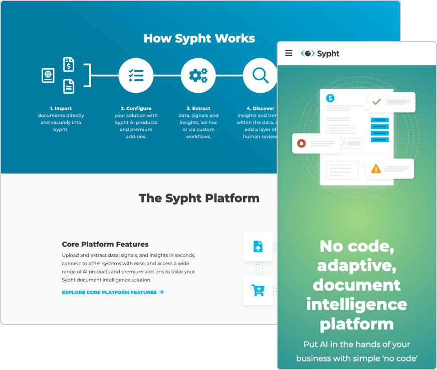 Sypht website built with new UI