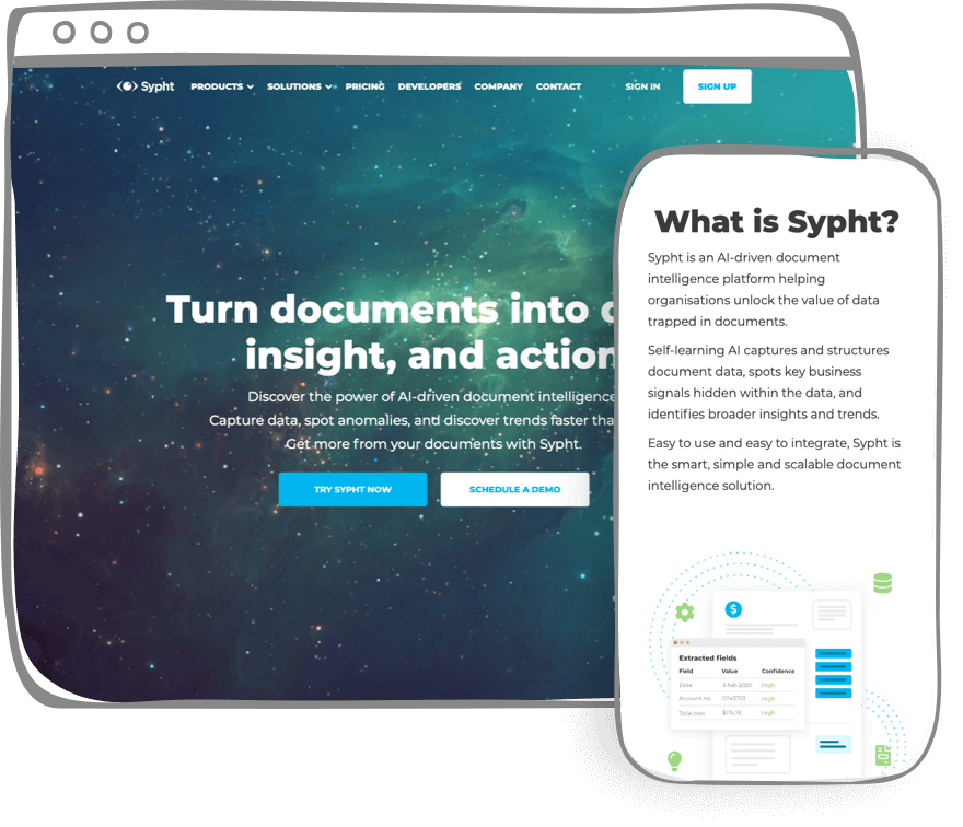 Redesigned Sypht website home page
