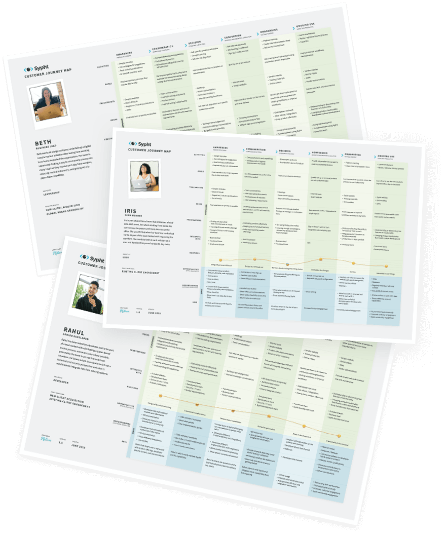3 stacked customer journey maps