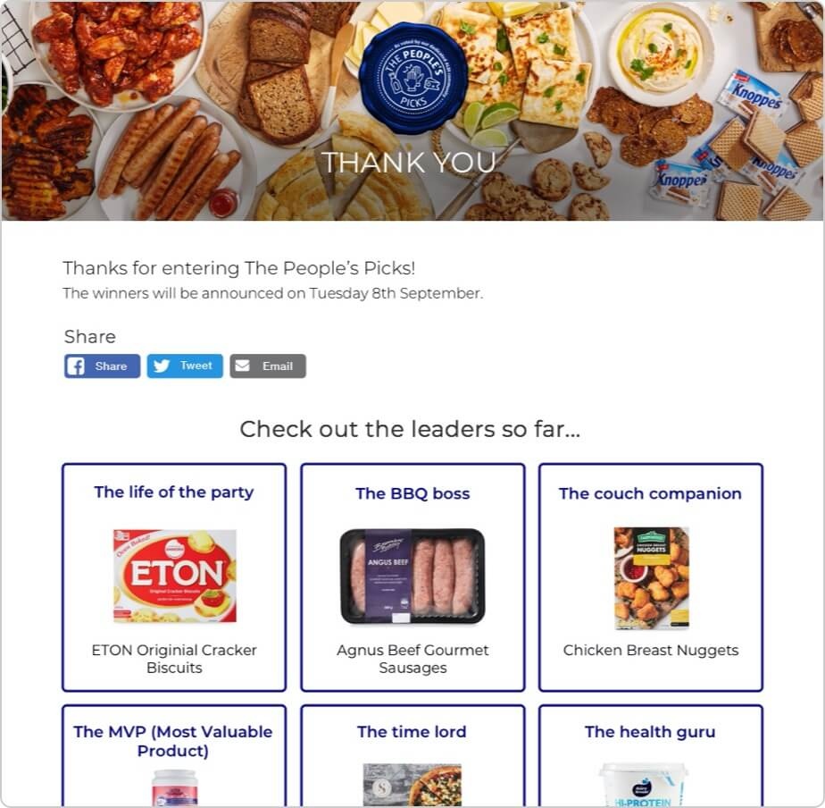 People's picks website thank you page