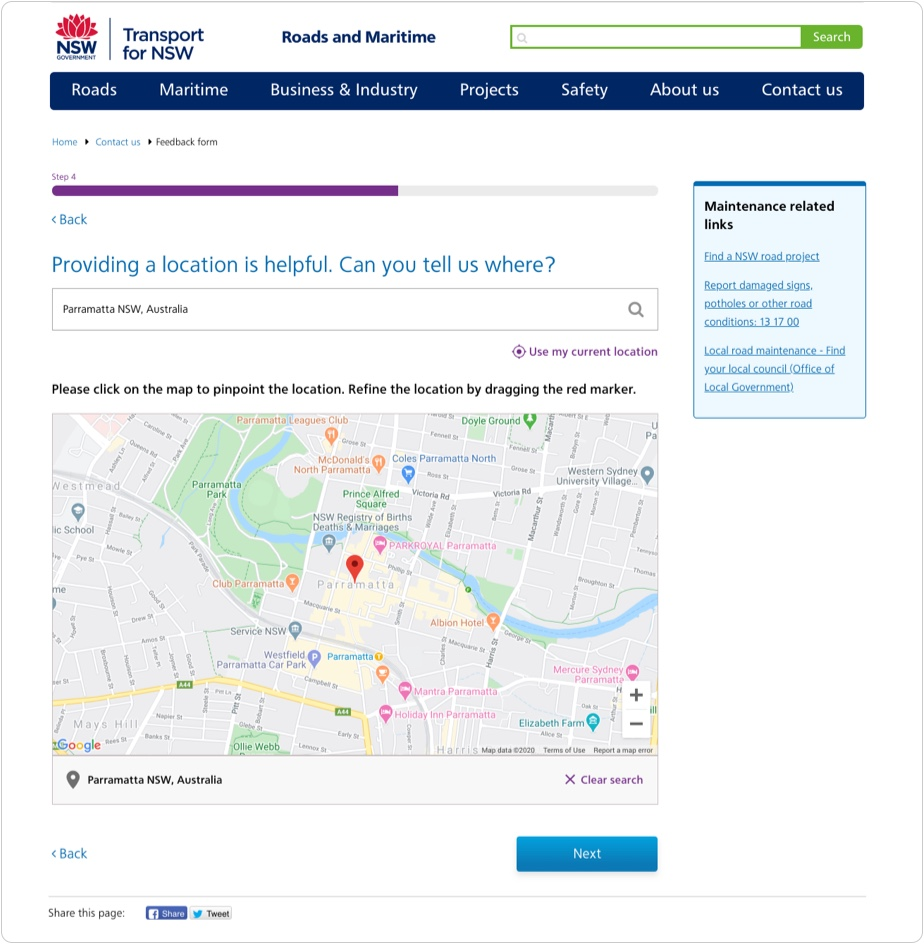 Step where users can provide a location with their submission